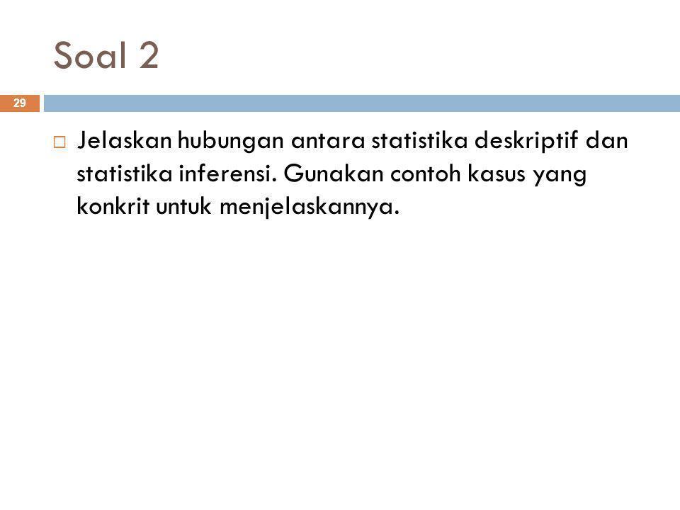 Soal 2 Jelaskan hubungan antara statistika deskriptif dan statistika inferensi.