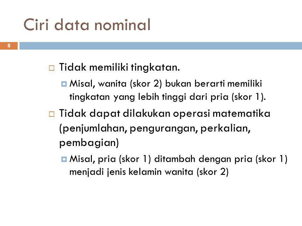 Ciri data nominal Tidak memiliki tingkatan.