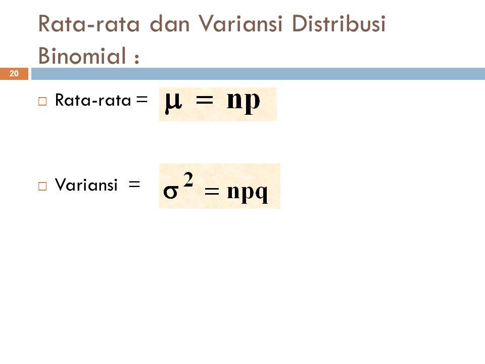Rata-rata dan Variansi Distribusi Binomial :