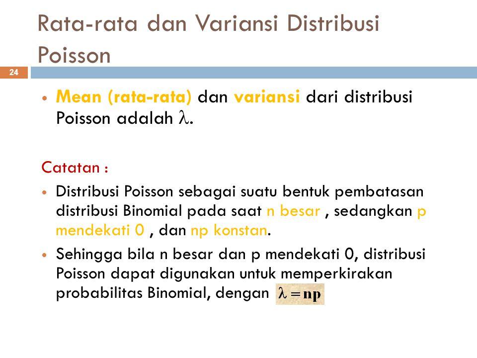 Rata-rata dan Variansi Distribusi Poisson