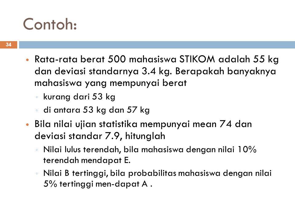 Contoh: Rata-rata berat 500 mahasiswa STIKOM adalah 55 kg dan deviasi standarnya 3.4 kg. Berapakah banyaknya mahasiswa yang mempunyai berat.