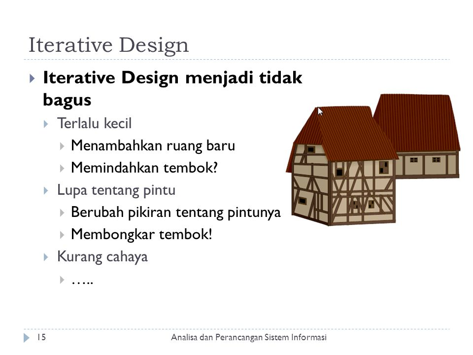 Iterative Design Iterative Design menjadi tidak bagus Terlalu kecil