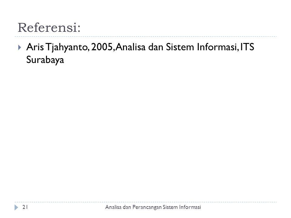 Referensi: Aris Tjahyanto, 2005, Analisa dan Sistem Informasi, ITS Surabaya.