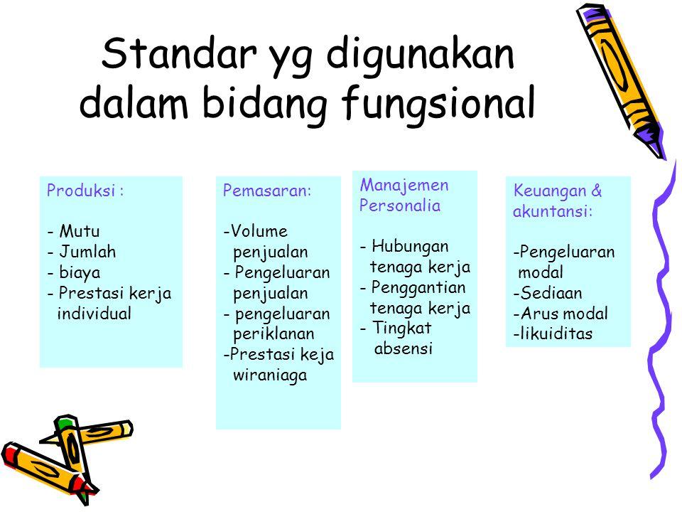 Standar yg digunakan dalam bidang fungsional