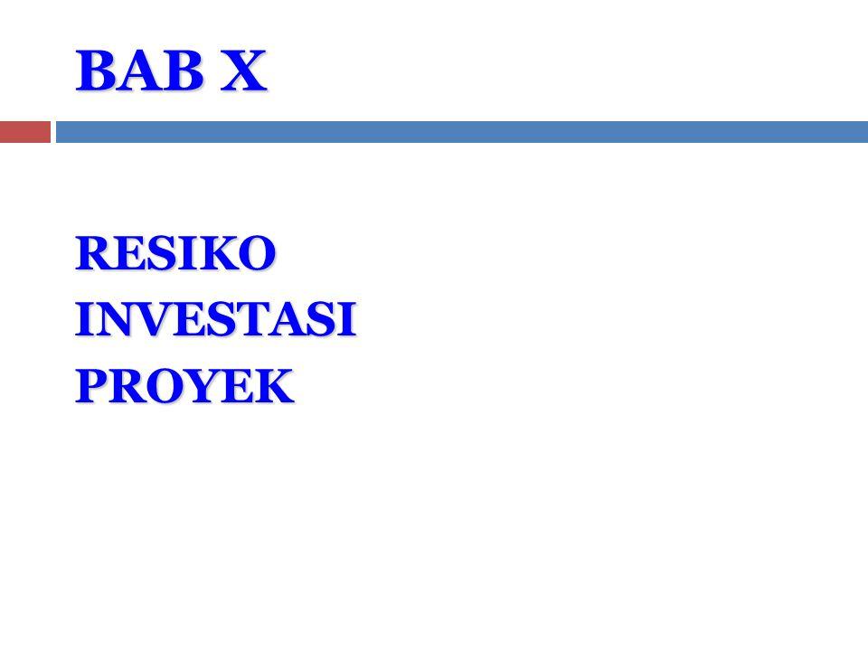 BAB X RESIKO INVESTASI PROYEK