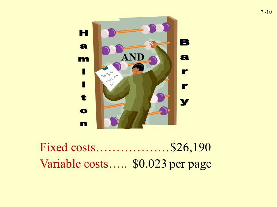 Hamilton Barry Fixed costs……………… $26,190
