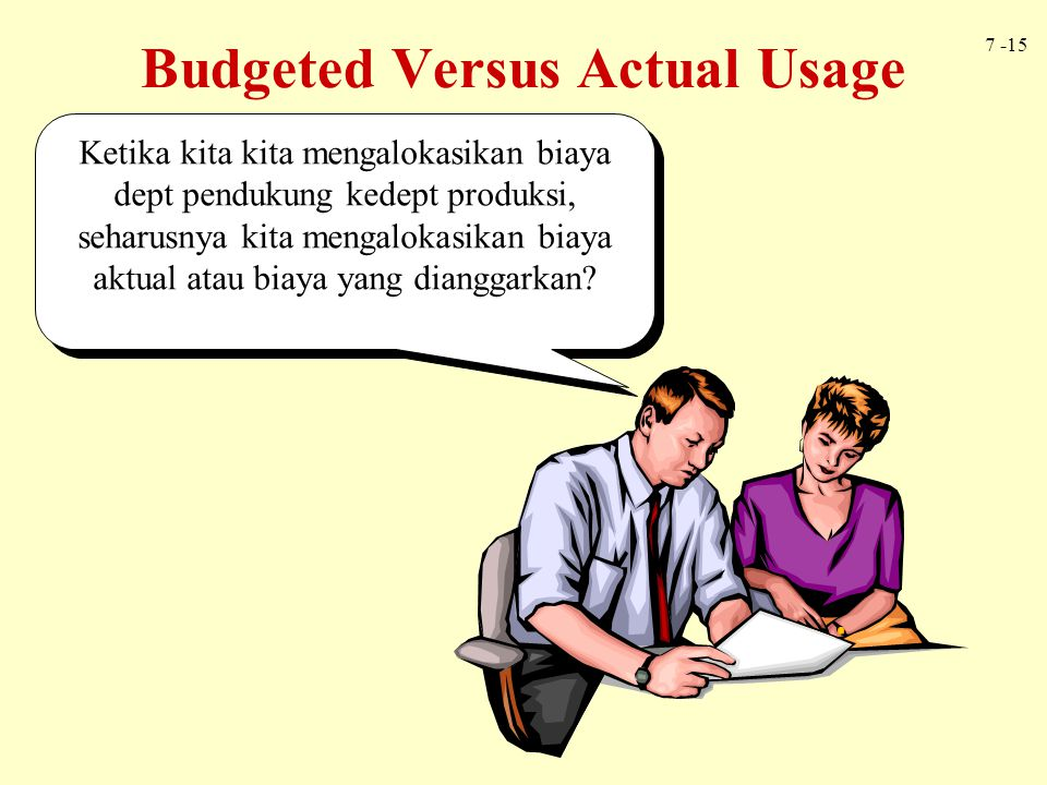 Budgeted Versus Actual Usage