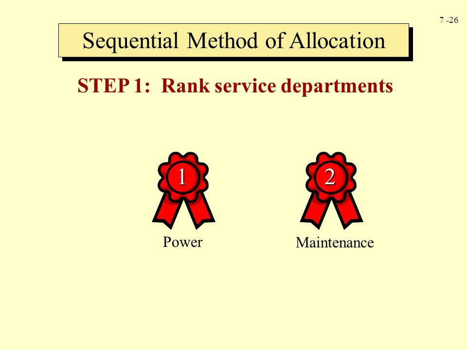 STEP 1: Rank service departments