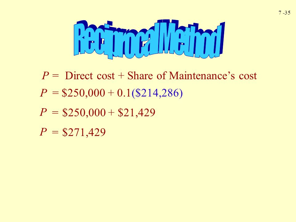 Reciprocal Method P = Direct cost + Share of Maintenance's cost