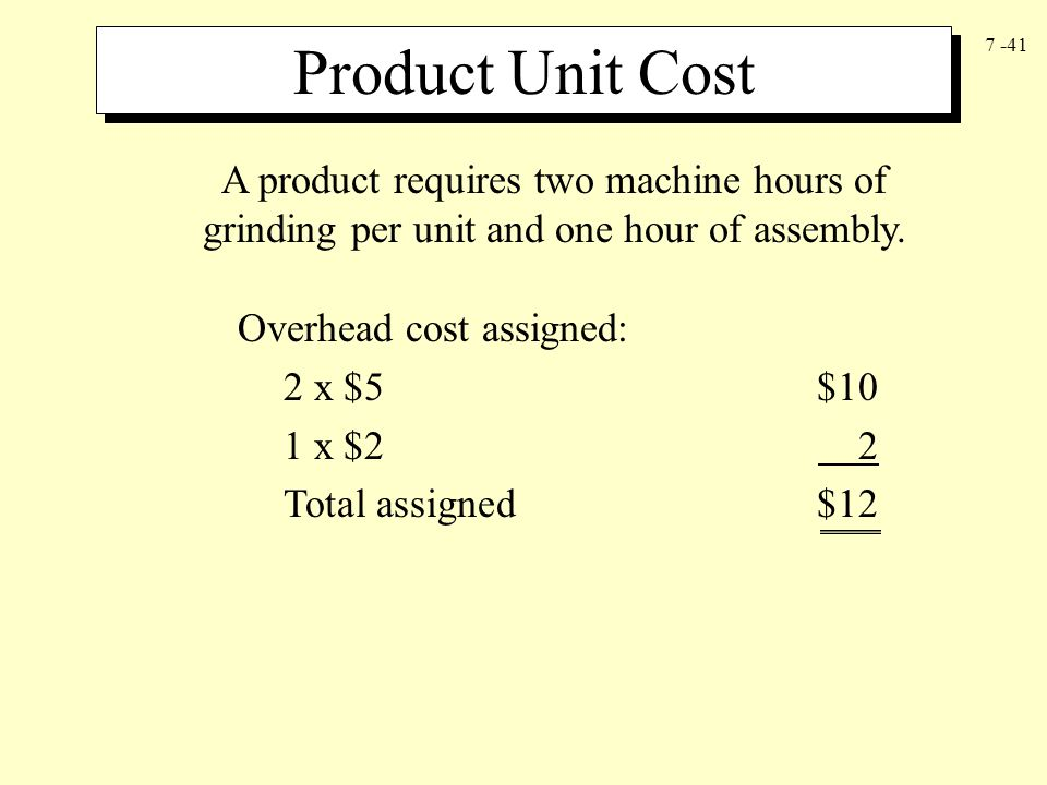 Product Unit Cost A product requires two machine hours of grinding per unit and one hour of assembly.