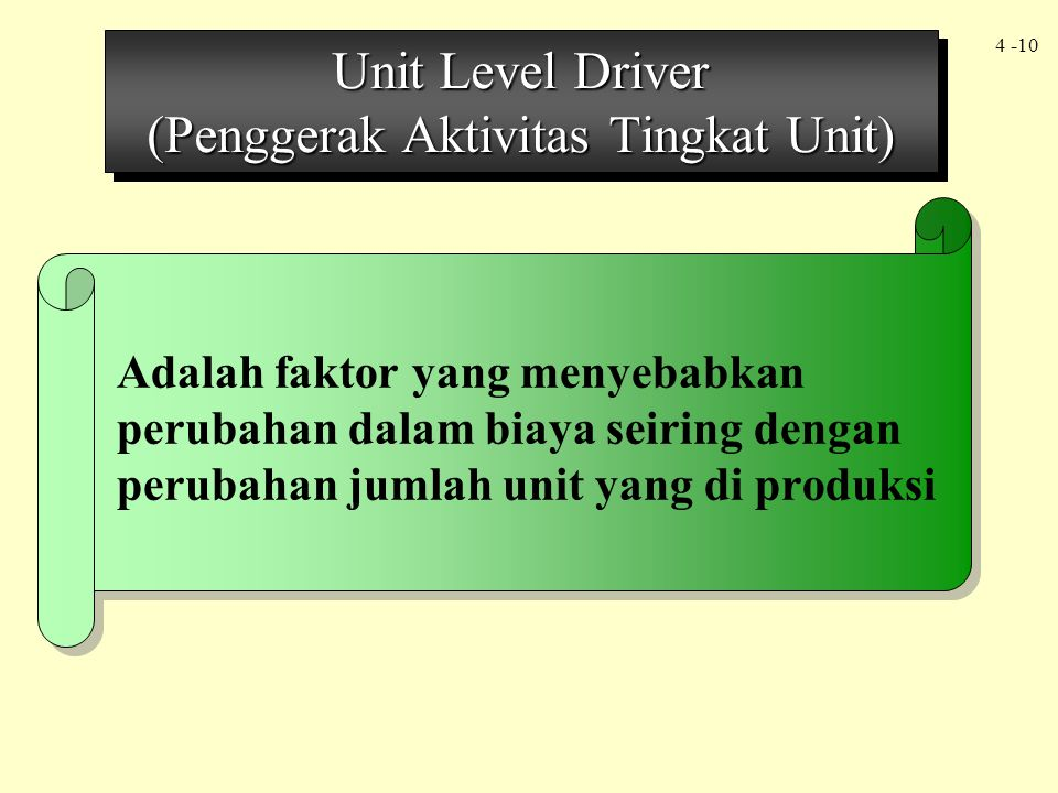 Unit Level Driver (Penggerak Aktivitas Tingkat Unit)