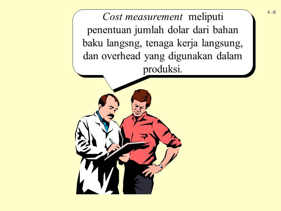 Cost measurement meliputi penentuan jumlah dolar dari bahan baku langsng, tenaga kerja langsung, dan overhead yang digunakan dalam produksi.
