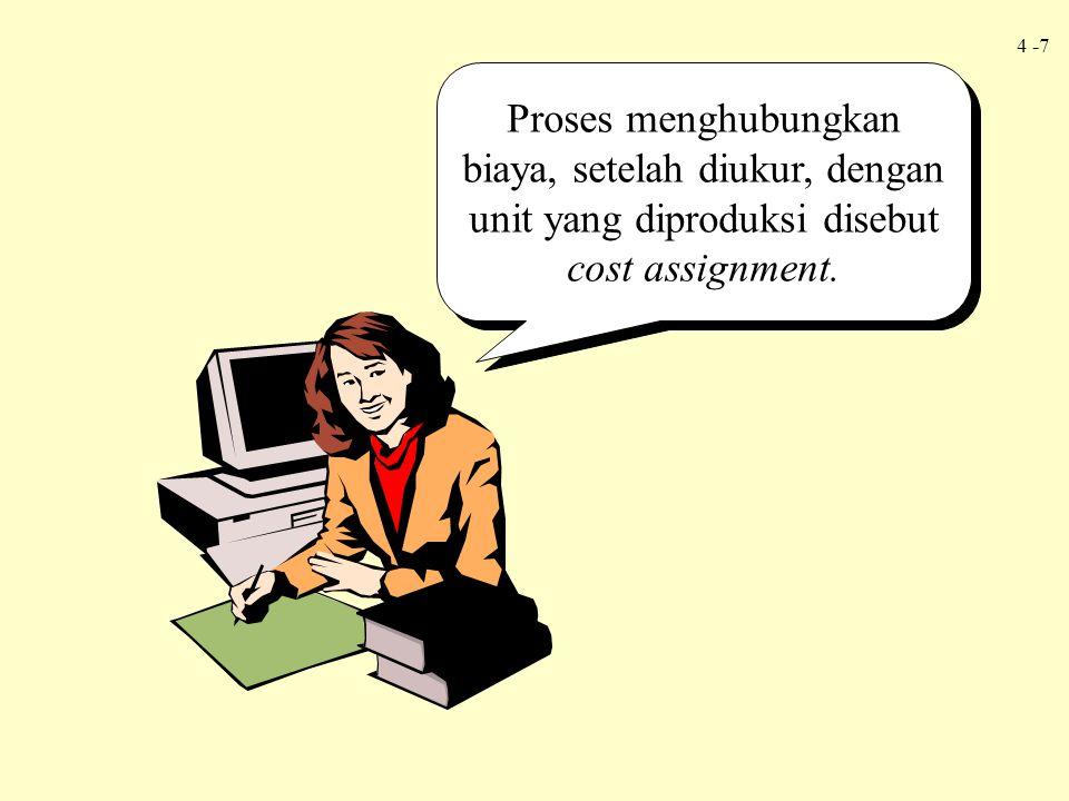 Proses menghubungkan biaya, setelah diukur, dengan unit yang diproduksi disebut cost assignment.