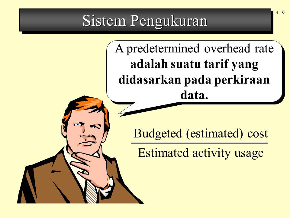 Sistem Pengukuran A predetermined overhead rate adalah suatu tarif yang didasarkan pada perkiraan data.