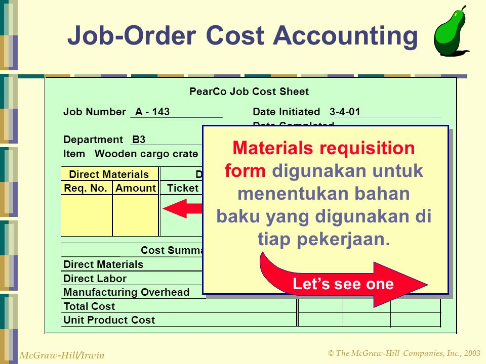cost accounting and job order cost For example, cost accounting is used to compute the unit cost of a manufacturer's products in order to report the cost of inventory on its balance sheet and the cost of goods sold on its income statement.