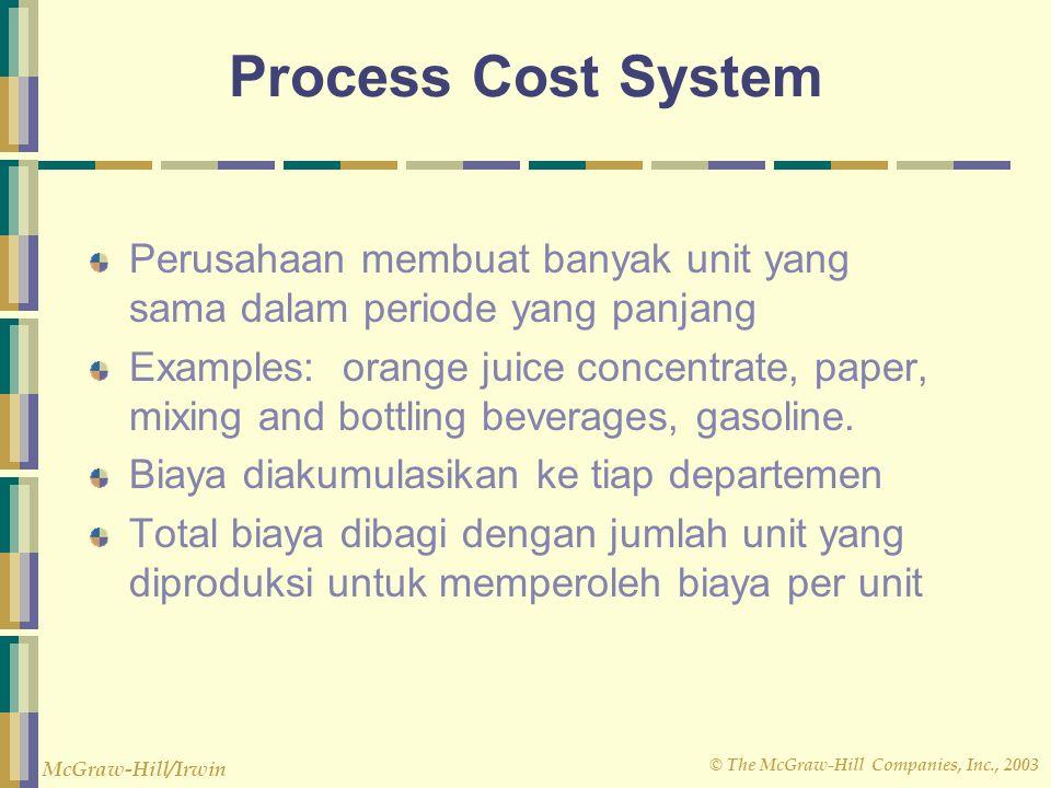 Process Cost System Perusahaan membuat banyak unit yang sama dalam periode yang panjang.