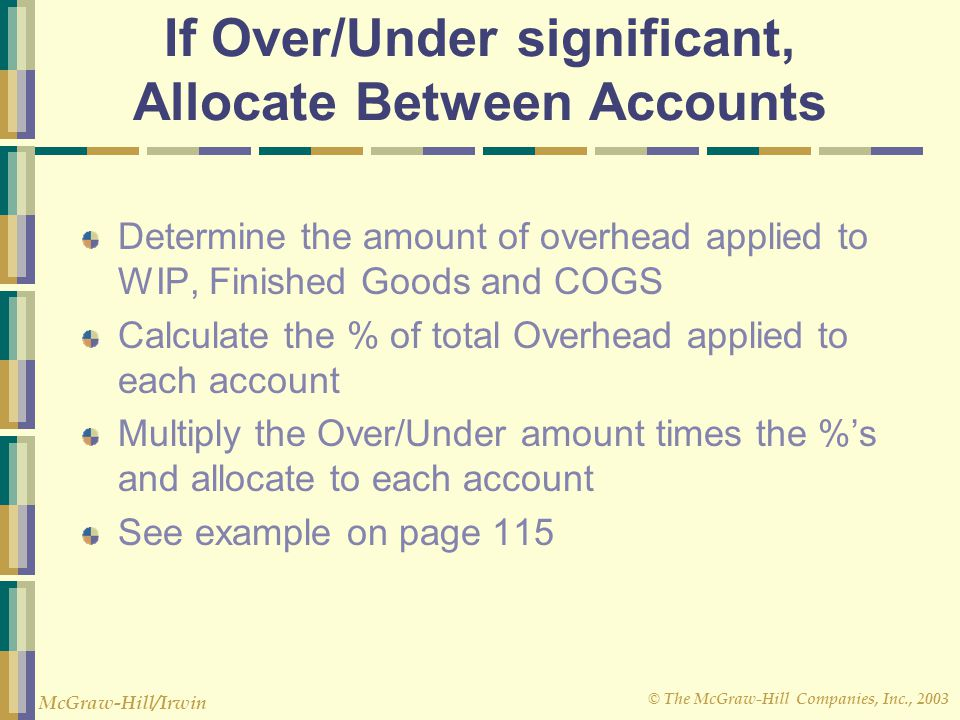If Over/Under significant, Allocate Between Accounts