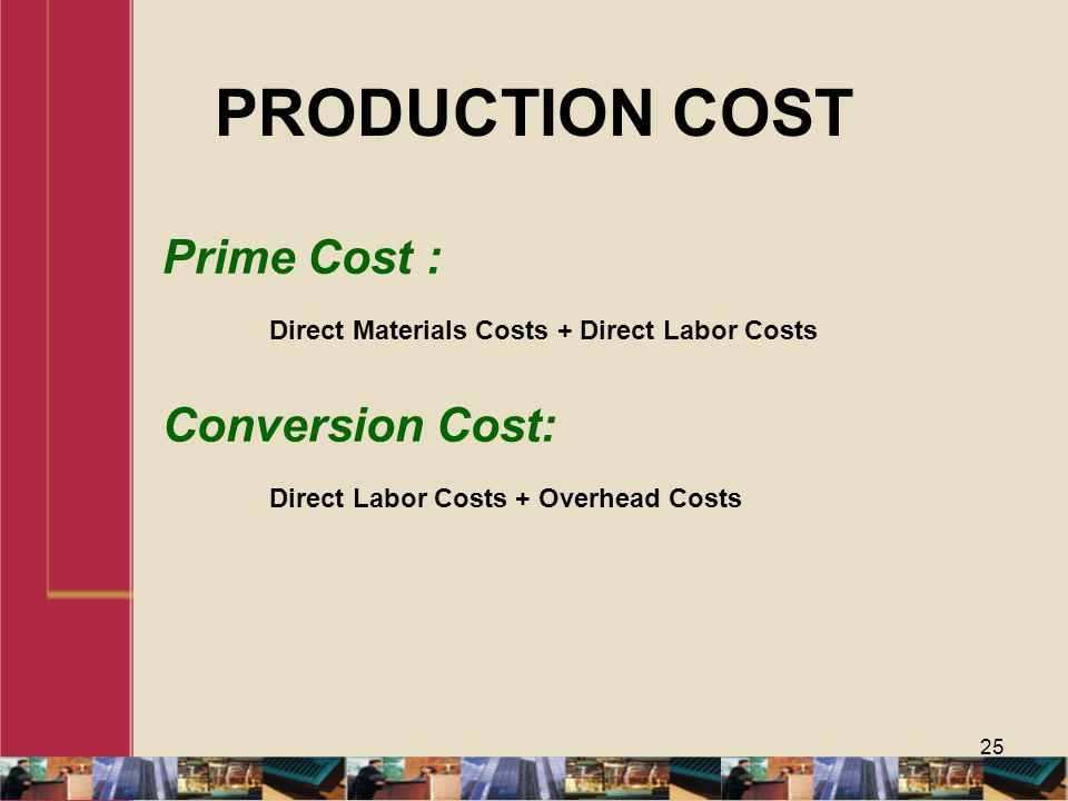 PRODUCTION COST Prime Cost :