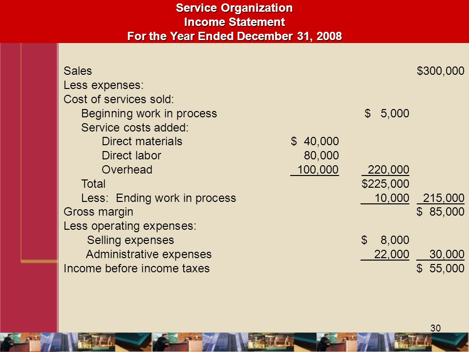 Service Organization Income Statement For the Year Ended December 31, 2008