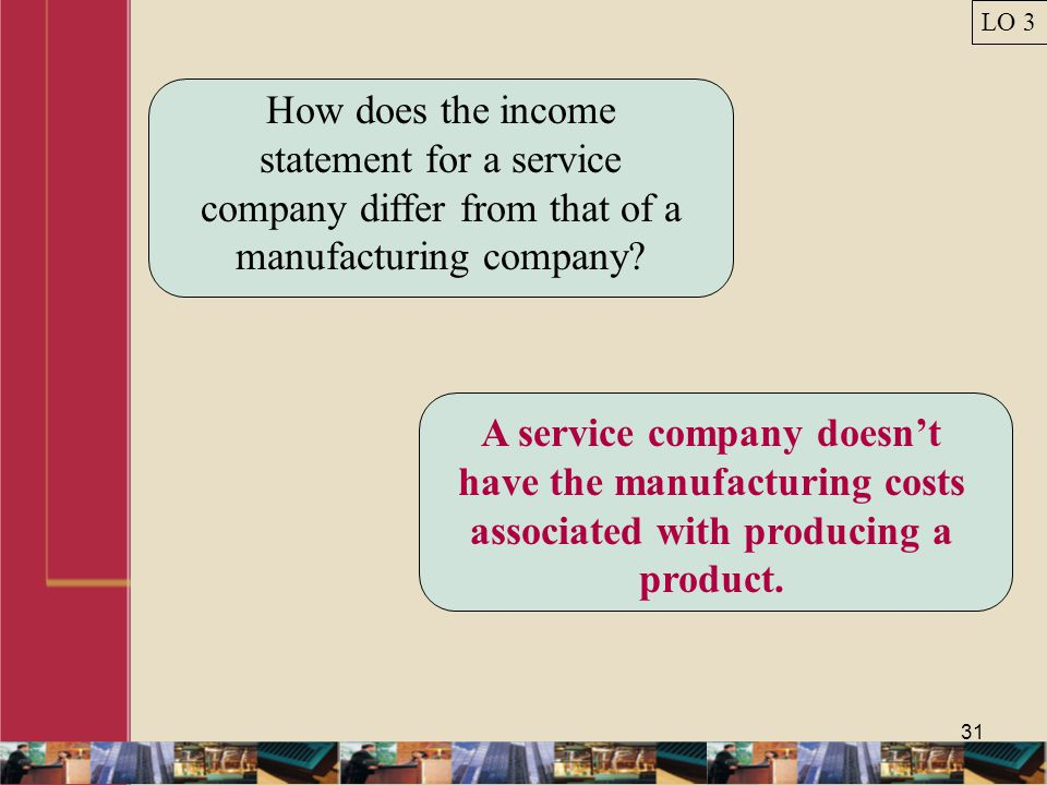 LO 3 How does the income statement for a service company differ from that of a manufacturing company