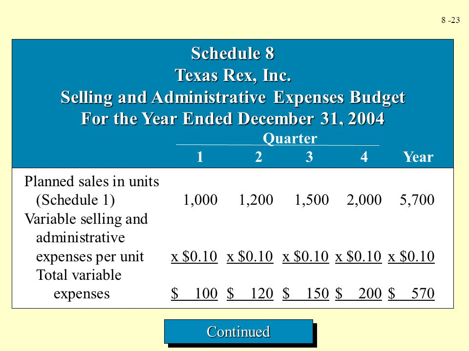 Selling and Administrative Expenses Budget