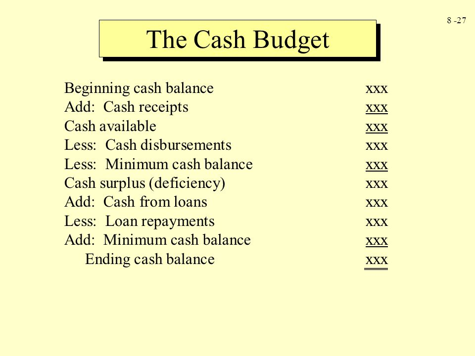 The Cash Budget Beginning cash balance xxx Add: Cash receipts xxx