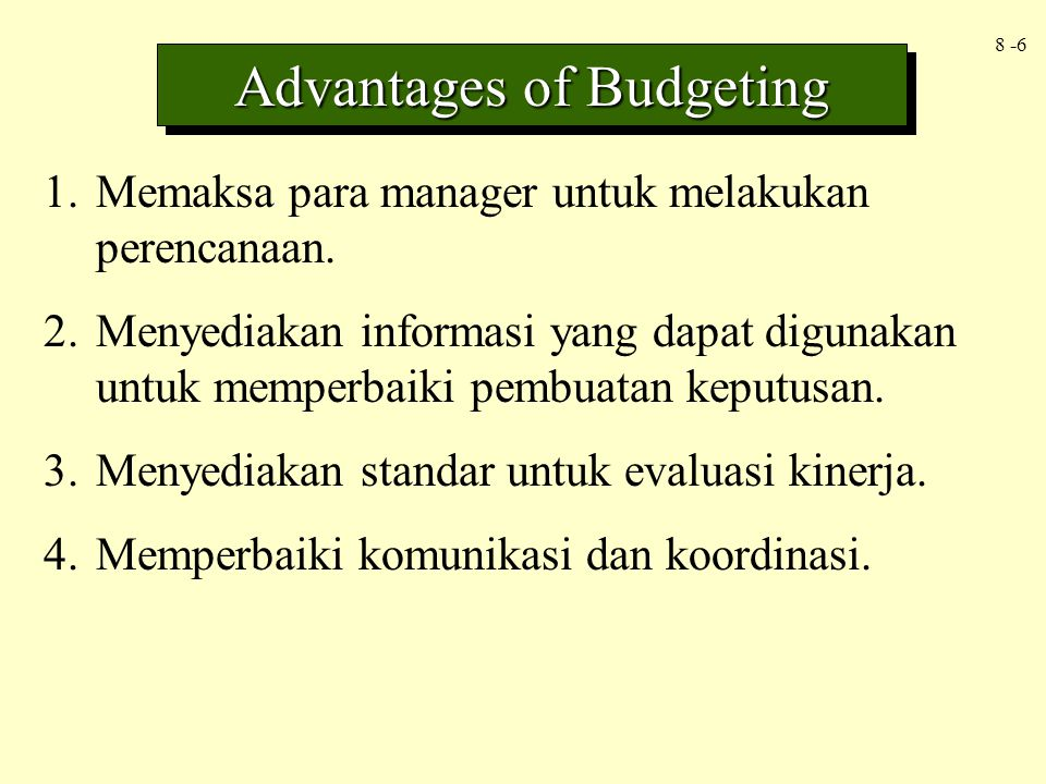 Advantages of Budgeting