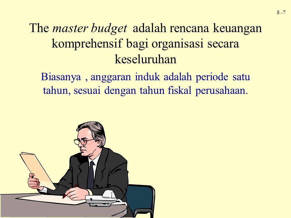 The master budget adalah rencana keuangan komprehensif bagi organisasi secara keseluruhan