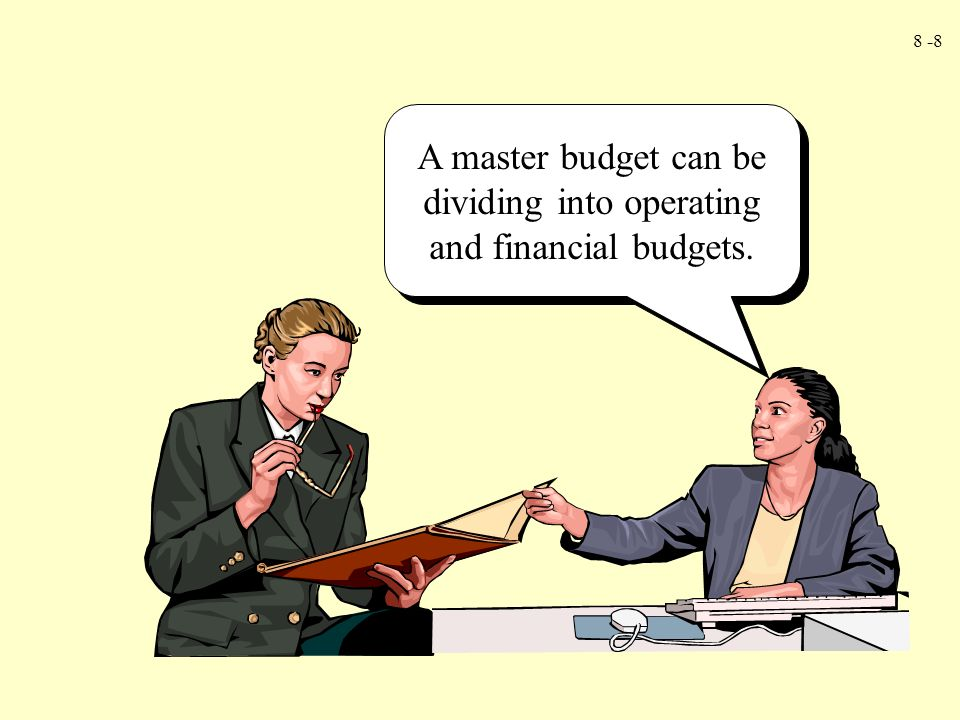 A master budget can be dividing into operating and financial budgets.