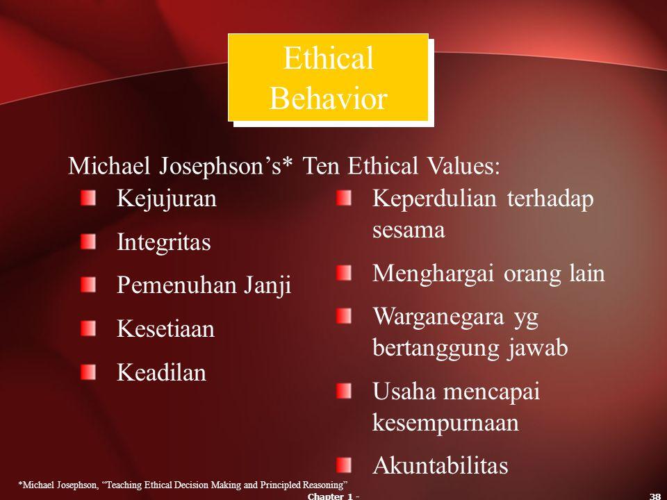 Ethical Behavior Michael Josephson's* Ten Ethical Values: Kejujuran