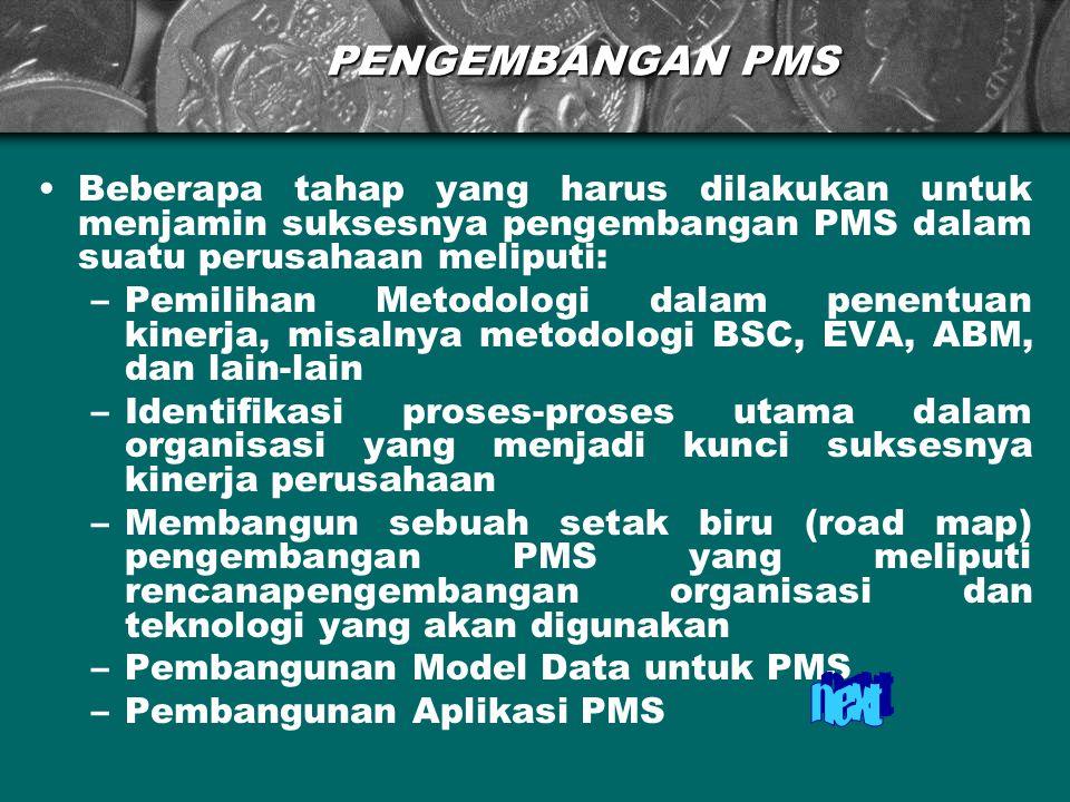 PENGEMBANGAN PMS Beberapa tahap yang harus dilakukan untuk menjamin suksesnya pengembangan PMS dalam suatu perusahaan meliputi: