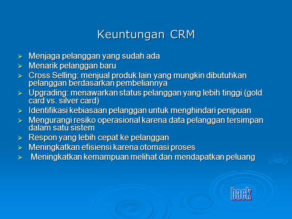 Keuntungan CRM back Menjaga pelanggan yang sudah ada