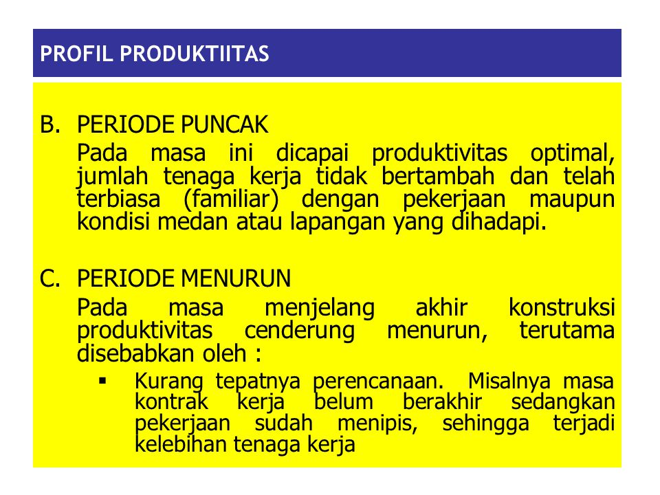 PROFIL PRODUKTIITAS B. PERIODE PUNCAK.