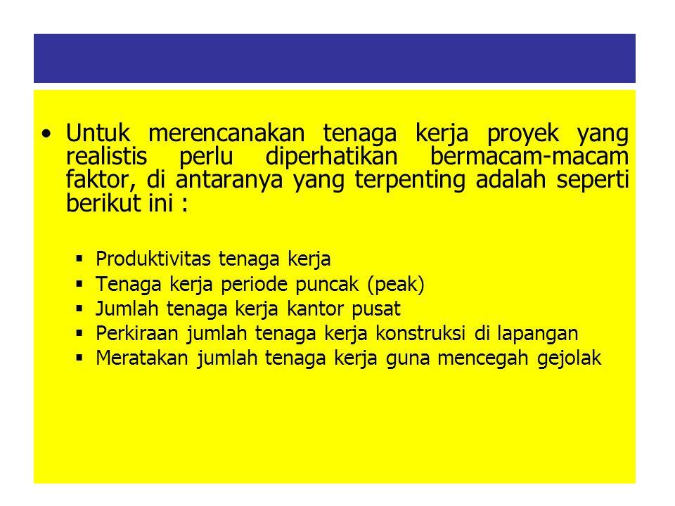 Untuk merencanakan tenaga kerja proyek yang realistis perlu diperhatikan bermacam-macam faktor, di antaranya yang terpenting adalah seperti berikut ini :