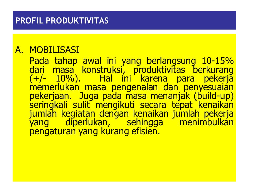 PROFIL PRODUKTIVITAS MOBILISASI.
