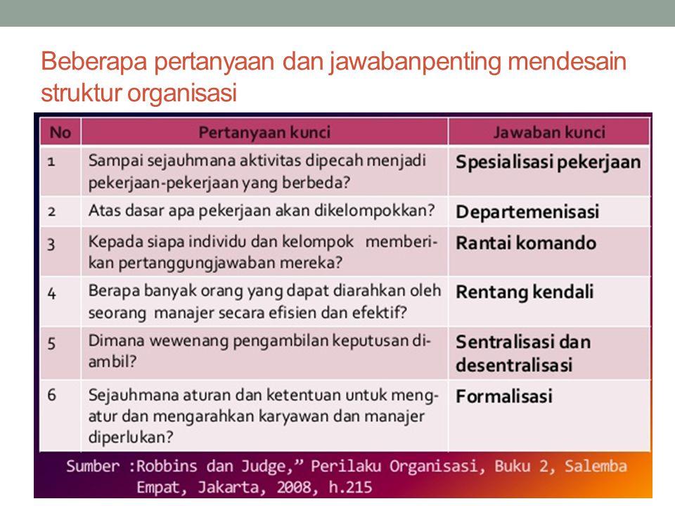Beberapa pertanyaan dan jawabanpenting mendesain struktur organisasi