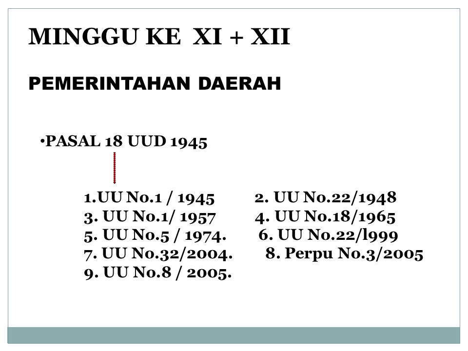 MINGGU KE XI + XII PEMERINTAHAN DAERAH PASAL 18 UUD 1945