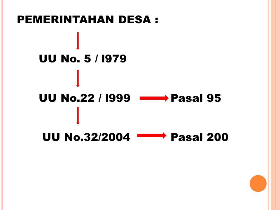 PEMERINTAHAN DESA : UU No. 5 / l979. UU No.22 / l999 Pasal 95.