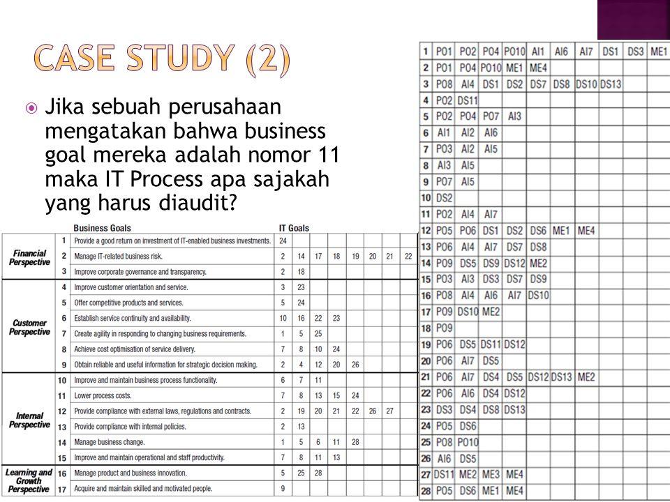 Case study (2) Jika sebuah perusahaan mengatakan bahwa business goal mereka adalah nomor 11 maka IT Process apa sajakah yang harus diaudit