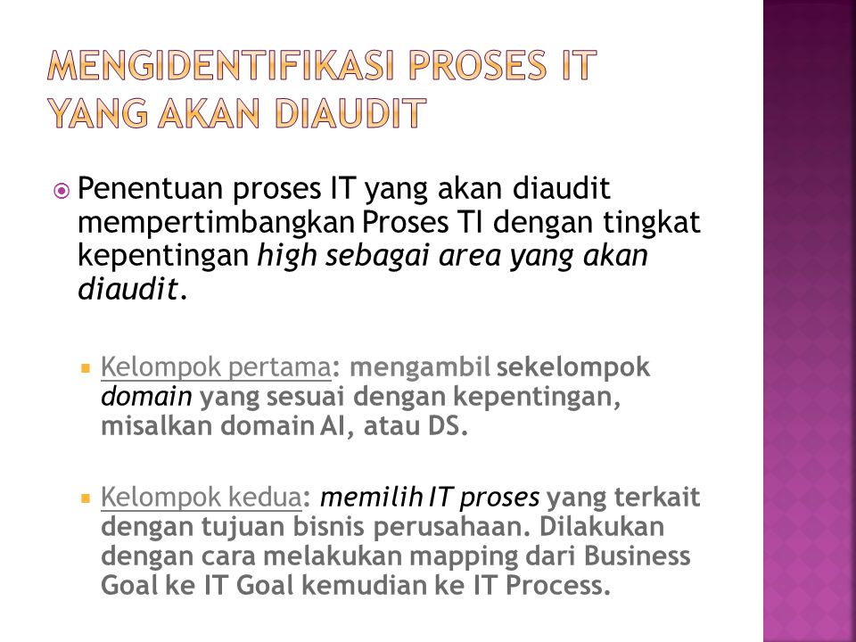 Mengidentifikasi proses IT yang akan diaudit