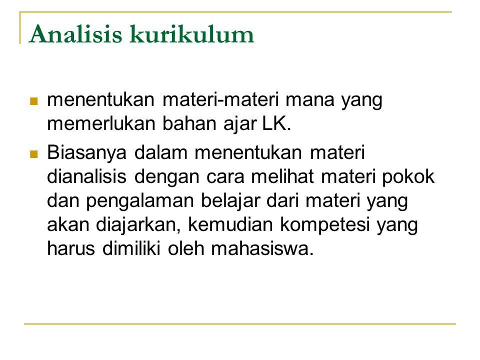 Analisis kurikulum menentukan materi-materi mana yang memerlukan bahan ajar LK.