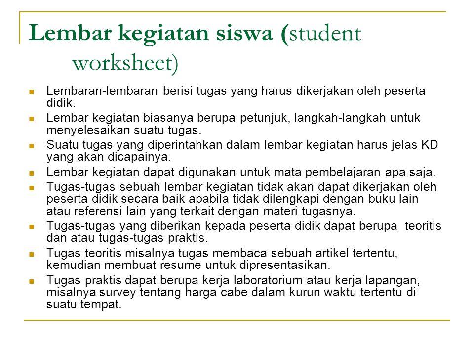 Lembar kegiatan siswa (student worksheet)