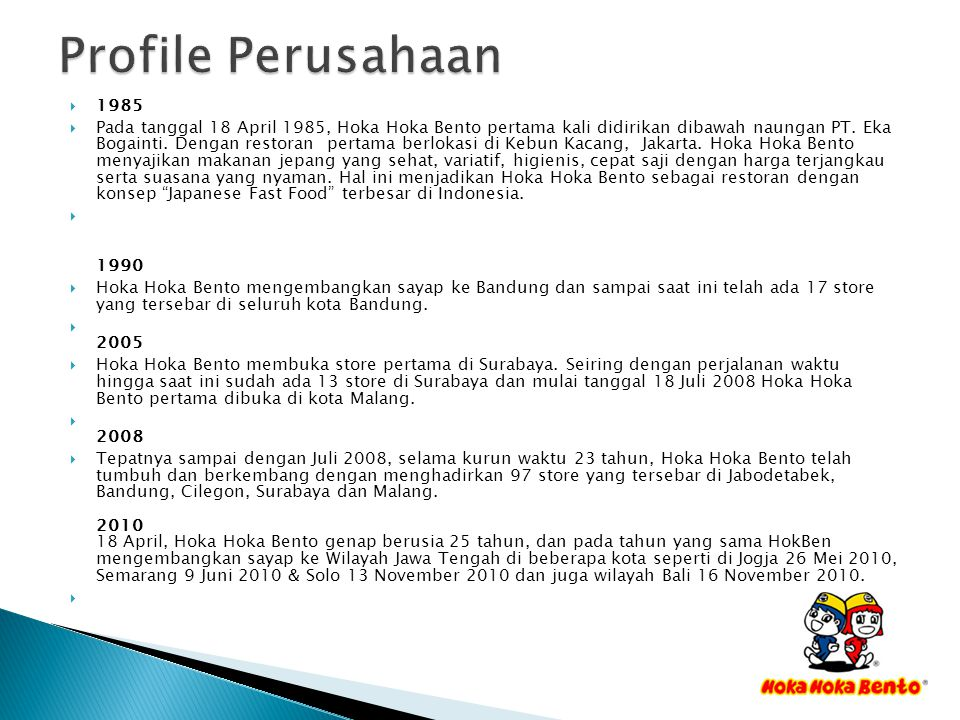 Profile Perusahaan 1985.