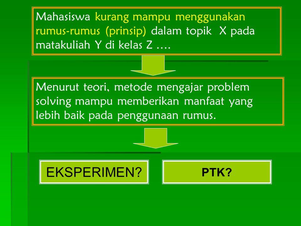 Mahasiswa kurang mampu menggunakan rumus-rumus (prinsip) dalam topik X pada matakuliah Y di kelas Z ….