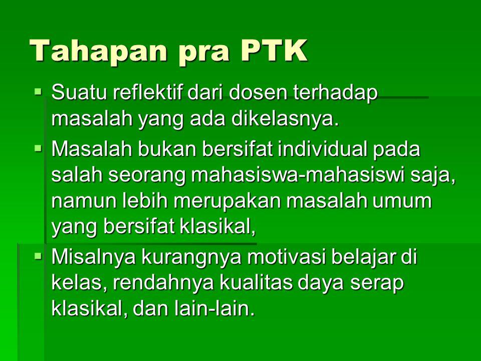 Tahapan pra PTK Suatu reflektif dari dosen terhadap masalah yang ada dikelasnya.