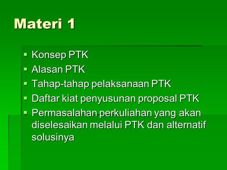 Materi 1 Konsep PTK Alasan PTK Tahap-tahap pelaksanaan PTK