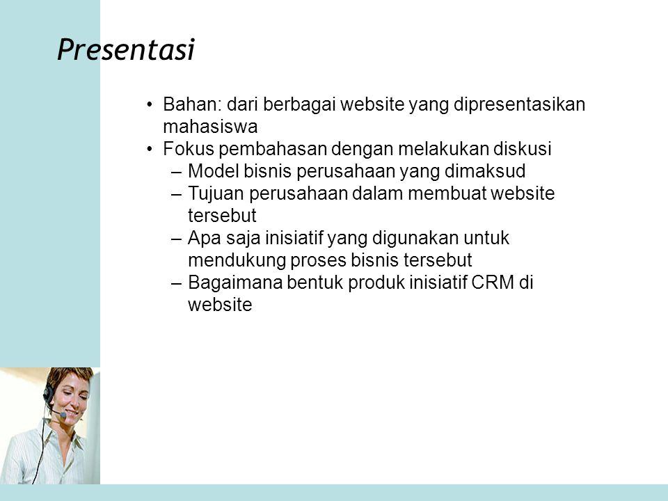 Presentasi Bahan: dari berbagai website yang dipresentasikan mahasiswa