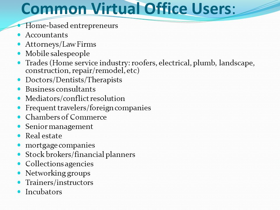 Common Virtual Office Users: