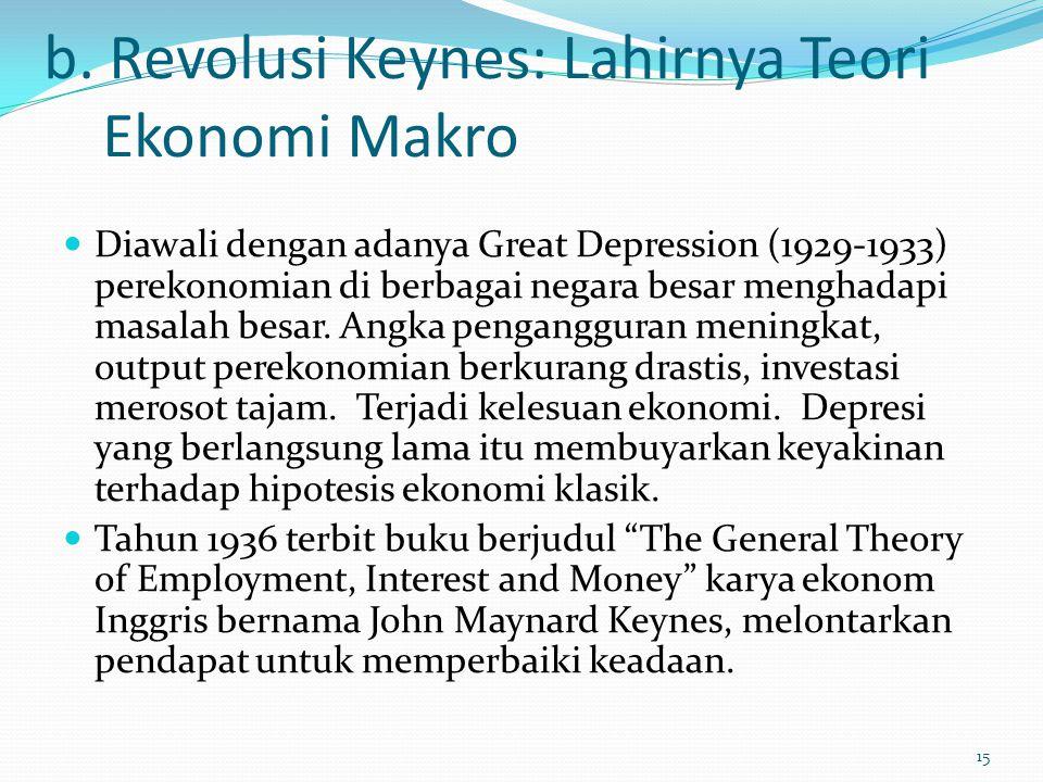b. Revolusi Keynes: Lahirnya Teori Ekonomi Makro