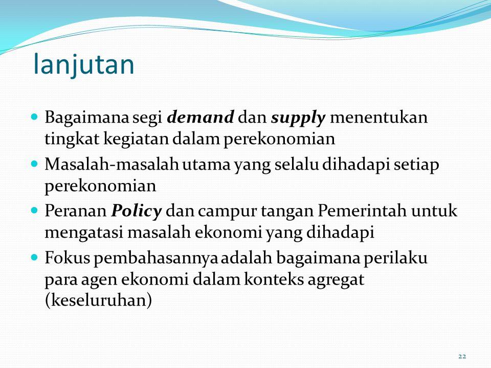 lanjutan Bagaimana segi demand dan supply menentukan tingkat kegiatan dalam perekonomian.